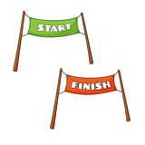 Streamers of Start and Finish Stock Photo