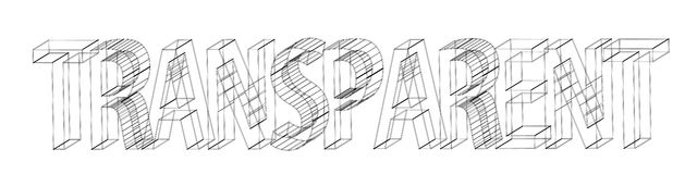 Transparent. Wireframe word TRANSPARENT, design depicting transparency Royalty Free Illustration