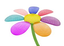 Transparent 3d flower. On white background Stock Images