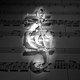 Transparent 3d treble clef with shadow on dark sta Stock Image