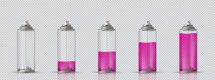 Transparent aerosol spray can with different paint loading. Vector illustration on transparent background. Transparent aerosol spray can with different paint Stock Images