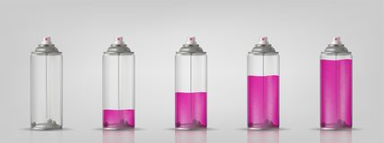 Transparent aerosol spray can with different paint loading. Vector illustration. Transparent aerosol spray can with different paint loading. Vector illustration stock illustration