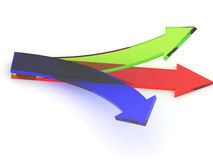 Transparent arrows. Three transparent arrows directed every which way Royalty Free Stock Photo