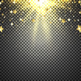 Transparent background with flying stars. Vector illustration. Shiny background with lights of sparks. Sunburst effect Royalty Free Stock Photos