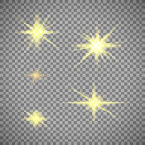 Transparent background gold star light. Glowing or golden sunlight Stock Image