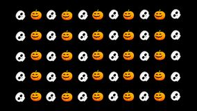 On a  transparent  background Halloween, rows of pumpkins and spinning skulls.