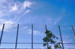 Transparent baffle against the blue sky. In Poland Stock Photos