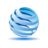 Transparent ball with blue lines in 3D. Vector illustration. Transparent  ball with blue lines in 3D. Vector illustration Stock Photography
