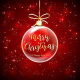 Transparent Ball on Red Background with Lettering Merry Christmas vector illustration