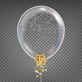 Transparent Balloon Vector. Snowflake. Gold Bow. Shiny Clean Ballon In The Air. Party Decoration For Festival, Birthday. Holidays Design. Isolated Stock Images