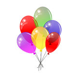 Transparent balloons. Multicolored balloons gathered in a bunch. Royalty Free Stock Images