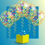 Transparent balloons with spangles, confetti and streamers and gift box. Gift box and transparent balloons with spangles, confetti and streamers. Background for Stock Image