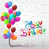 Transparent balloons with streamer and Happy birthday text Royalty Free Stock Image