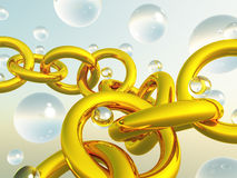 Transparent balls fragment gold chain Stock Image
