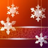 Transparent banner with snowflake ornaments Stock Photo