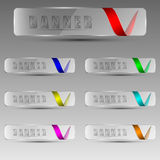 Transparent banners with ribbons. Set of clear banners with different colored ribbons. Vector illustration Royalty Free Stock Photo