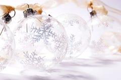 Transparent baubles. Transparent glass baubles royalty free stock image