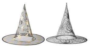 Transparent black witch hats for Halloween Royalty Free Stock Images