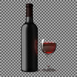 Transparent blank black realistic bottle for red wine  on plaid background with glass . Vecto Stock Image