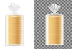 Transparent blank packaging with white bread.  royalty free illustration