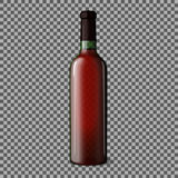 Transparent blank realistic bottle for red wine  on plaid background. Vector Royalty Free Stock Photos