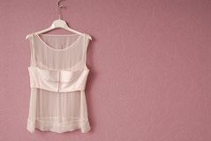 Transparent blouse is on hanger. Royalty Free Stock Image