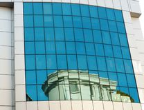 Transparent blue building windows Royalty Free Stock Images