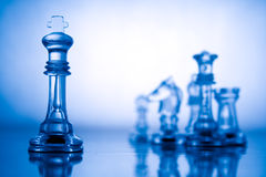 Transparent blue chess Royalty Free Stock Photo