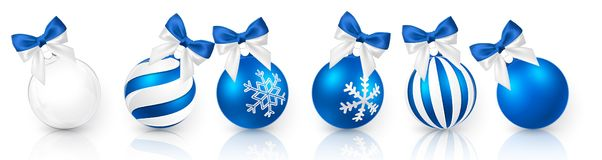 Transparent and Blue Christmas ball with snow effect and blue bow set. Xmas glass ball on white background. Holiday decoration vector illustration