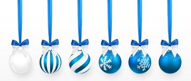Transparent and Blue Christmas ball with snow effect and blue bow set. Xmas glass ball on white background. Holiday decoration stock illustration