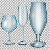 Transparent blue empty glass goblets for cognac, champagne and b Stock Photos
