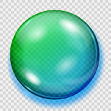 Transparent blue and green sphere with shadow Stock Image