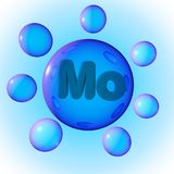 Transparent blue mineral molybdenum pills on blue background. Mineral and vitamin complex. Healthy life concept. 3d vector illustration