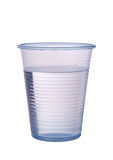 Transparent blue plastic cup of water isolated over white Stock Images