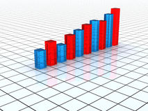 Transparent  blue and red graph Royalty Free Stock Image