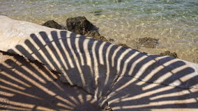The transparent blue of the sea and the shadow of a parasol on the sandy shore stock footage