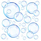 Transparent blue soap bubbles stock illustration