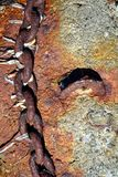 Rusty chain, mountains, natural background stock photos
