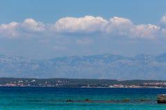 Transparent blue waters Croatia Dalmatia. Zadar, Croatia - July 24, 2018: Scenic view of the transparent green-blue waters of Ugljan island stock images