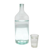Transparent bottle and glass. Transparent bottle and glass isolated on white Stock Photo