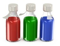 Transparent bottles with a vaccine Stock Image