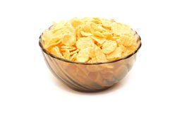 Transparent bowl with corn flakes Stock Image