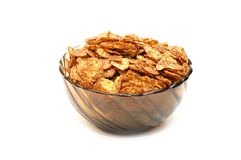 Transparent bowl with corn flakes Royalty Free Stock Photo
