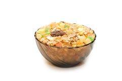 Transparent bowl with musli Stock Image