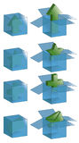 Transparent boxes with icons. Open boxes, closed boxes and all outlines are on separate layers. Transparent effect is simulated, easily change background color stock illustration