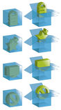 Transparent boxes with icons. Open boxes, closed boxes and all outlines are on separate layers. Transparent effect is simulated, easily change background color vector illustration