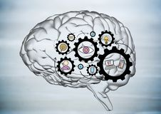 Transparent brain with black gear graphics against blurry grey wood panel Royalty Free Stock Image