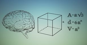 Transparent brain and black math graphics against blue green background Royalty Free Stock Images