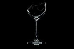 Transparent broken wineglass Stock Photos