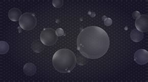 Transparent bubbles and drops of water. Royalty Free Stock Images